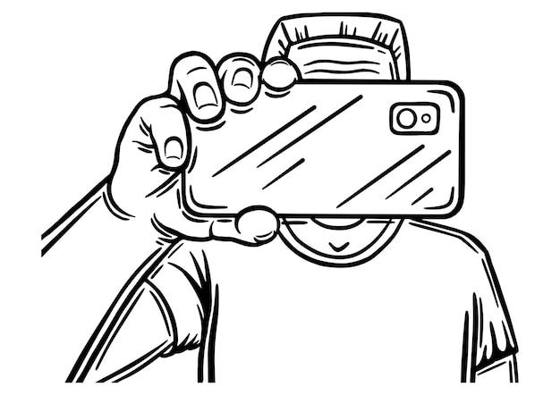 男性の手は携帯電話を持ってカメラで写真を撮ります
