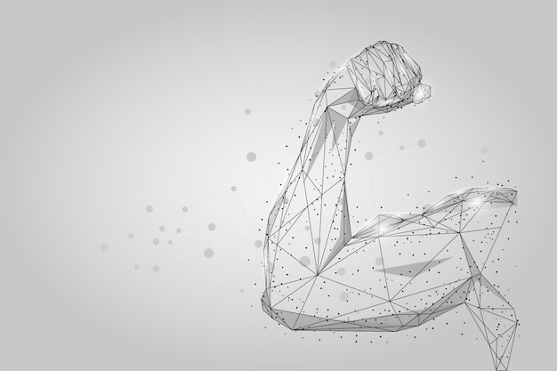 Male hand muscles connected dots low poly wireframe.