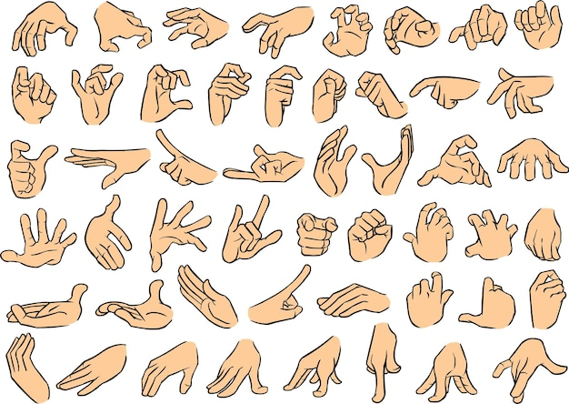 Male hand poses set 2