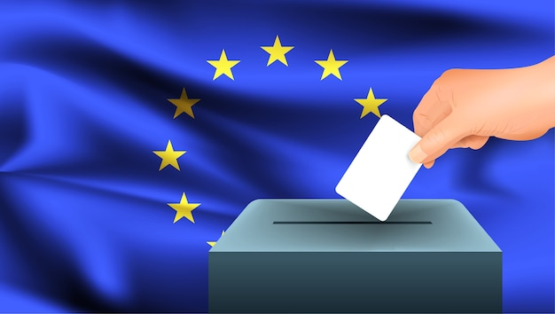 Male hand puts down a white sheet of paper with a mark as a symbol of a ballot paper against the background of the european union flag. eu the symbol of elections