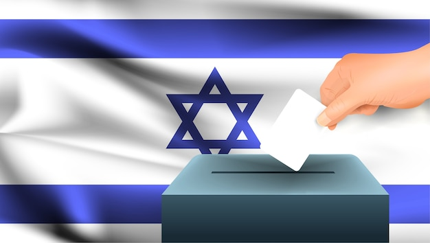 Male hand puts down a white sheet of paper with a mark as a symbol of a ballot paper against the background of the israel flag. israel the symbol of elections