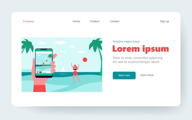Male hand taking photo of happy lady on beach. smartphone, sea, girlfriend flat vector illustration. vacation and relationship concept for banner, website design or landing web page