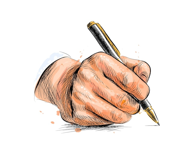 Male hand with pen from a splash of watercolor, hand drawn sketch.  illustration of paints