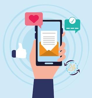 電子メール通信を送信するスマートフォンを持つ男性の手