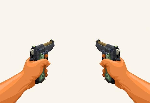 2つの銃を保持している男性の手