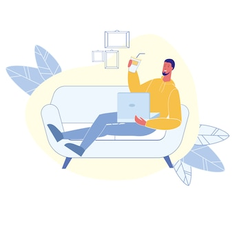 Male happy remote worker flat vector character