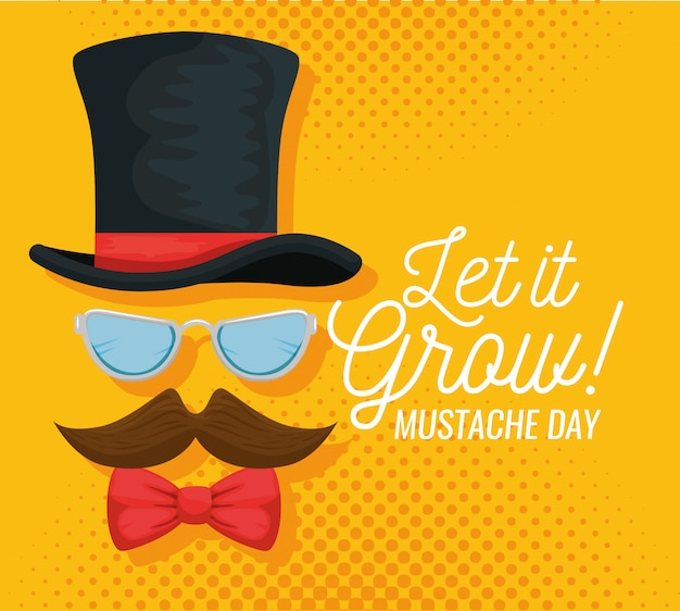 Male hat with glasses and mustache illustration