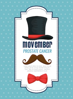 Male hat with tie bow and mustache