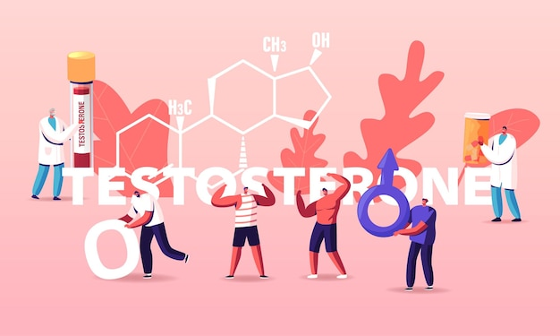 Male health illustration. tiny characters patients and doctor at huge testosterone formula.