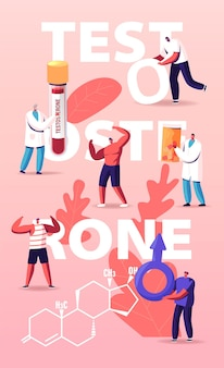 Male health illustration with tiny characters patients and doctor