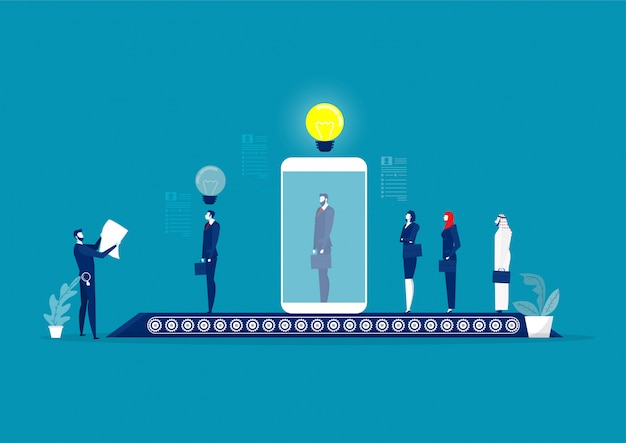 Male hr manager screen and interview candidate over huge digital tablet screen. long job seekers queue. hiring process.  illustration