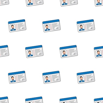 Male id card seamless pattern on a white background. personal identity theme vector illustration
