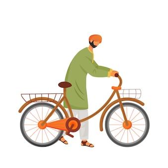 자전거 플랫 컬러 얼굴이없는 문자로 남성 인도.