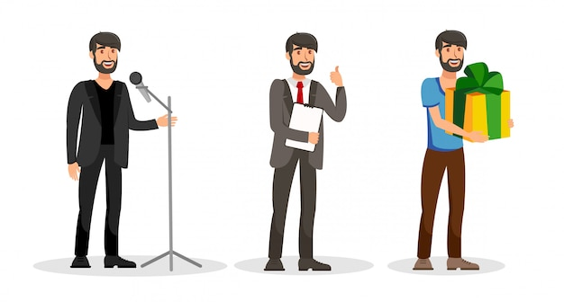 Male jobs, careers flat vector color characters