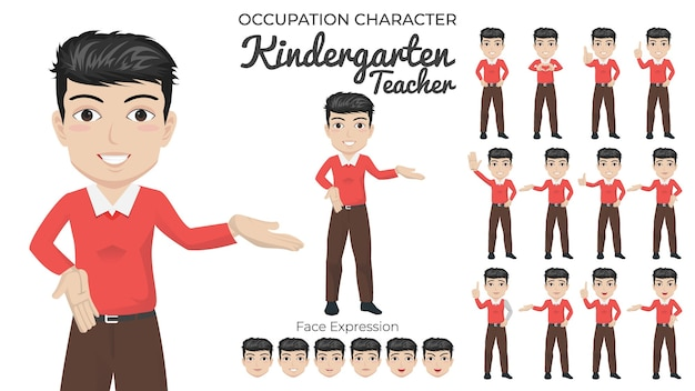 Male kindergarten teacher character set with variety of pose and face expression
