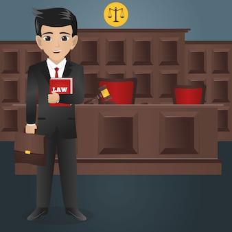 Мужской юрист, держащий книгу закона и сумку