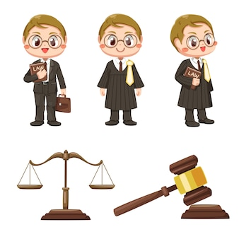 Male lawyer set with justice scales and wooden judge gavel