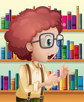 Un bibliotecario maschio all'interno della biblioteca