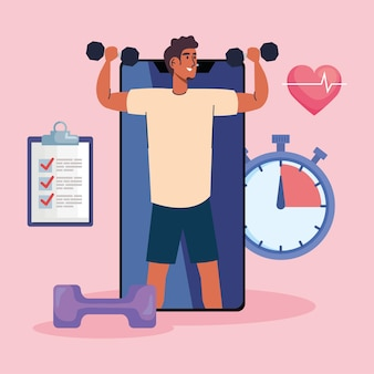 Male lifting dumbbells in smartphone with fitness lifestyle icons illustration design