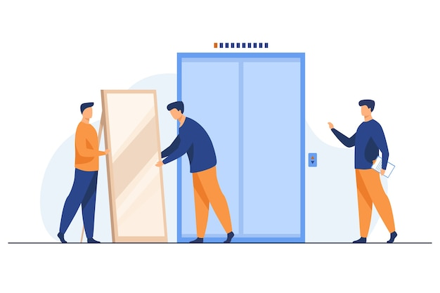 Male loaders carrying big mirror to elevator. men with furniture in building hall flat vector illustration. moving to new apartment, delivery