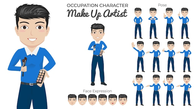 Male make up artist character set with variety of pose and face expression