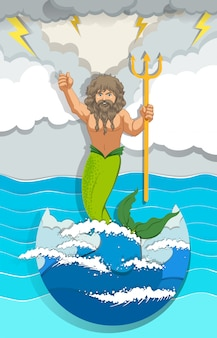 Male mermaid holding trident