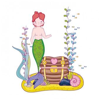 Male mermaid with treasure chest undersea scene