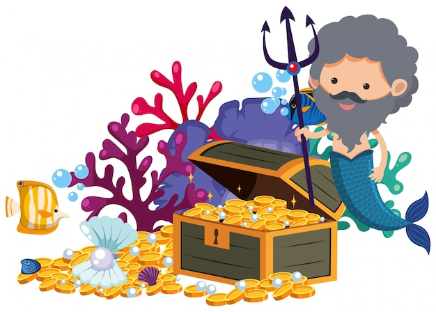 Male mermaid with trident and golden coins
