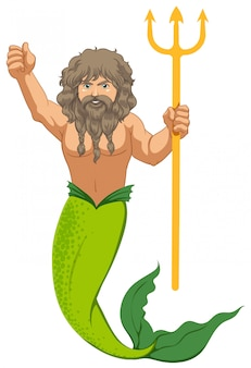 Male mermaid with the trident isolated
