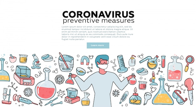 Male microbiologist scientist research coronavirus cov in the laboratory surrounded by virus, scientific medical equipment . awareness campiagn. tempalte for landing page. flat  illustration.