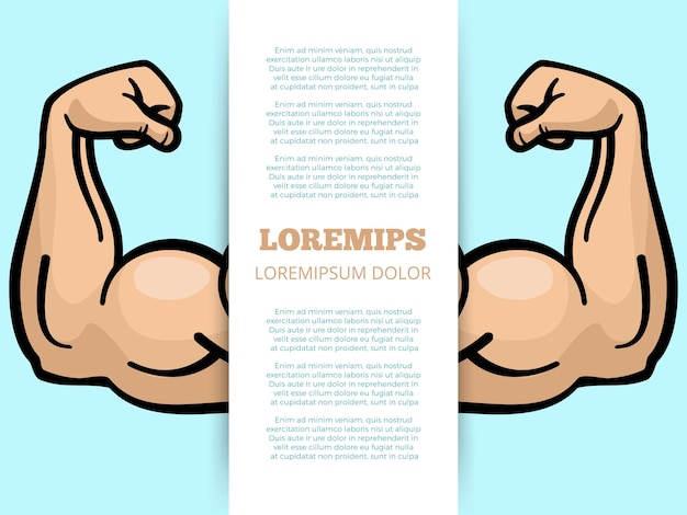 Male muscle arms banner template
