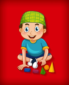 Male muslim cartoon character on colour gradient background