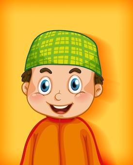 컬러 그라데이션 배경에 남성 이슬람 만화 캐릭터