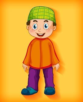 色のグラデーションの背景に男性のイスラム教徒の漫画のキャラクター