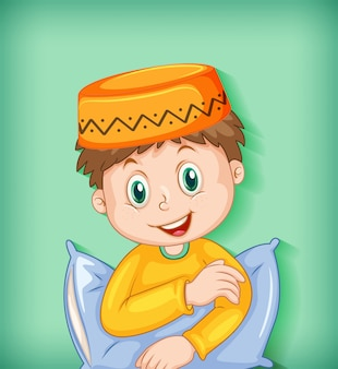 Male muslim cartoon character with pillow
