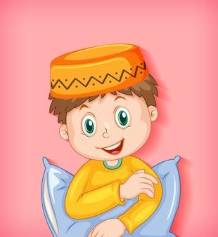 Мужской мусульманский мультипликационный персонаж с подушкой