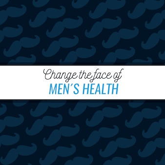 Male mustache pattern with text