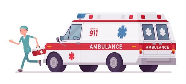 Медсестра на машине скорой помощи Premium векторы