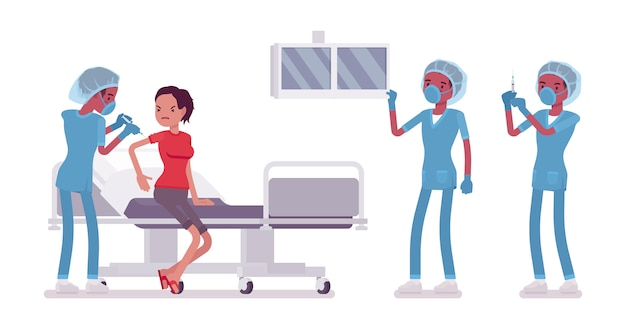 의료 절차에서 남자 간호사입니다. 병원 유니폼 주입 또는 작업을 만드는 젊은 남자. 의학 및 건강 관리 개념입니다. 흰색 배경에 스타일 만화 일러스트 레이션