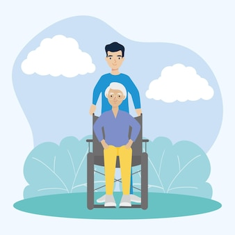 Male nurse caring an old woman on wheelchair