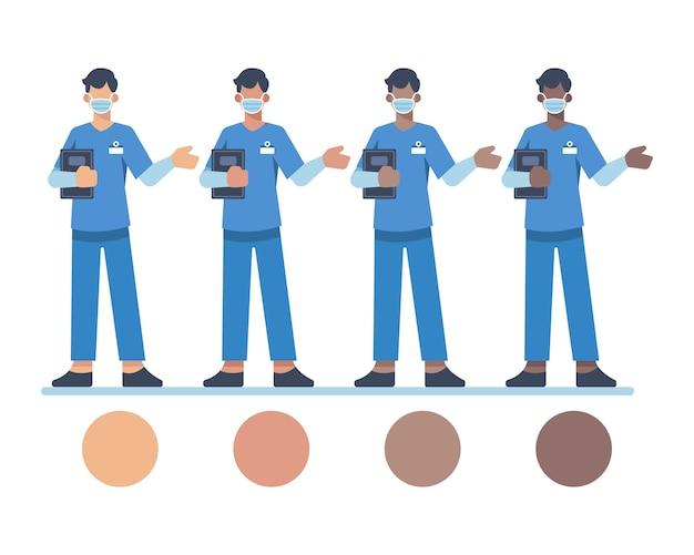 Male nurse character wear face mask
