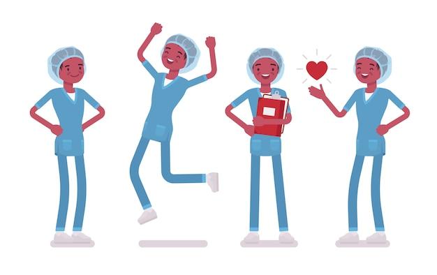 肯定的な感情の男性看護師。仕事で幸せな病院の制服を着た若い男は、仕事とキャリアをお楽しみください。医学とヘルスケアの概念。白い背景の上のスタイル漫画イラスト
