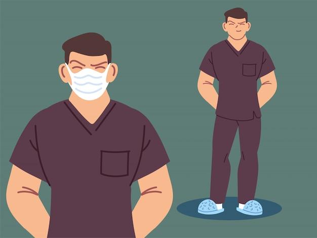 Медсестра, используя маску для лица