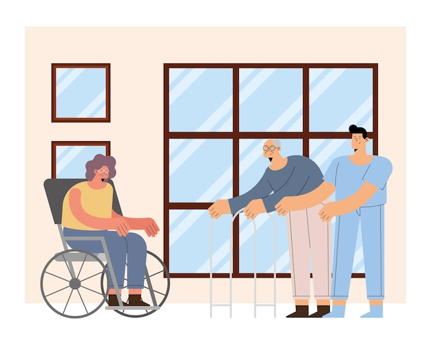 Male nurse with old man and woman