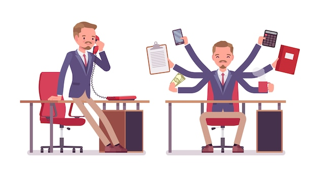 Male office secretary. smart man wearing jacket, skinny trousers, assisting in work, performs multiple tasks, talking on phone. business workwear, city fashion.   style cartoon illustration