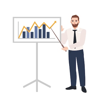 Male office worker making presentation and demonstrating chart on board. business speaker giving lecture. work meeting, training, learning. colorful vector illustration in flat cartoon style.