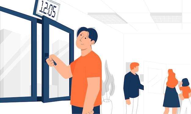 Мужской офисный работник открывает окно, пока его коллеги покидают комнату. проветривание на рабочем месте.