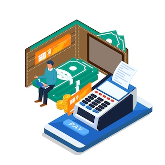 Male do online payment with laptop, mobile phone. isometric online payment concept.