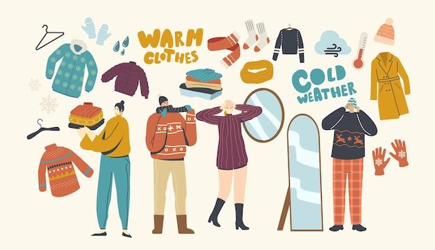 Персонажи мужского и женского пола в теплой одежде молодые люди в шерстяном вязаном пуловере ручной работы, шарфах и шляпах. мода для прогулок на свежем воздухе в холодную зимнюю или осеннюю погоду. линейные векторные иллюстрации