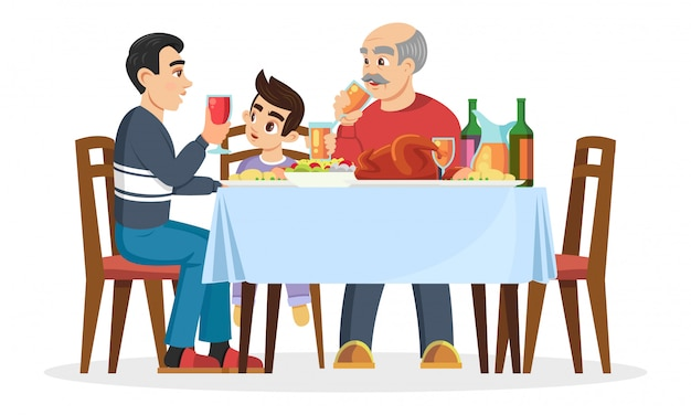 Male part of family small boy, his father or older brother and silver haired grandfather sitting at table